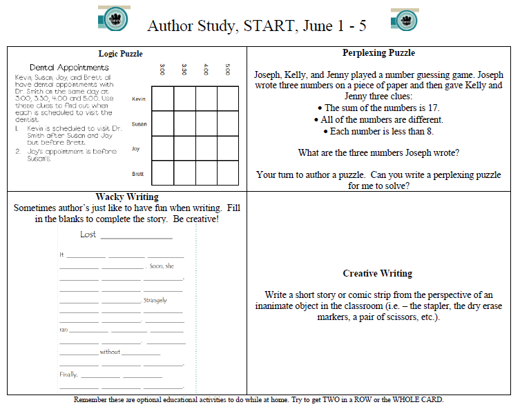Image of START Author Study Choice Board